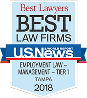 Best Law Firms - Employment Law - Management - Tier 1, Tampa 2018 badge