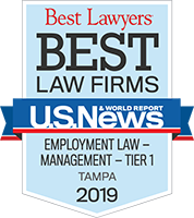 Best Law Firms - Employment Law - Management - Tier 1, Tampa 2019 badge