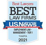 Best Law Firms - Employment Law - Management - Tier 1, Tampa 2021 badge